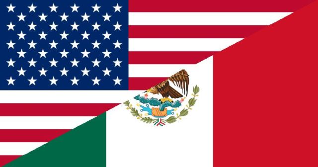 MexicanAmerican flags